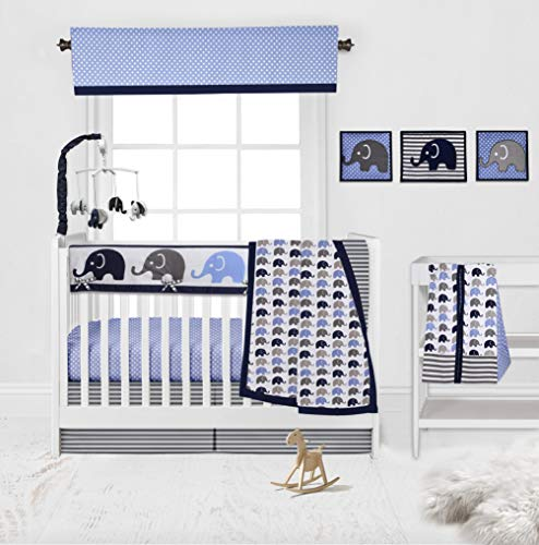 Bacati 10 Piece Boys Elephants Nursery-in-A-Bag Boys Nursery Decor Crib Bedding Set with Long Rail Guard, Blue Grey