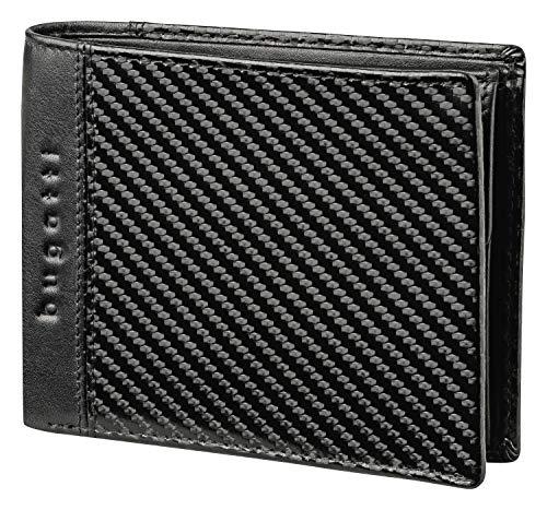 Bugatti Comet Geldbeutel Männer Leder – Geldbörse Herren Querformat Schwarz - Portmonaise Portemonnaie Portmonee Brieftasche Wallet Ledergeldbeutel 4CC