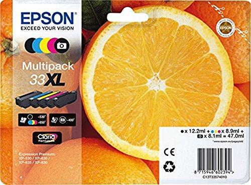 Epson Original 33XL Tinte Orange,Amazon Dash Replenishment-fähig) Multipack 5-farbig