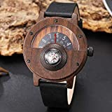 Relojes Reloj de Madera Reloj de Madera Creativo Hombres Tocadiscos Brújula Dial Real Nogal Ébano Bambú Relojes de Madera Hombre Marrón Negro Madera R