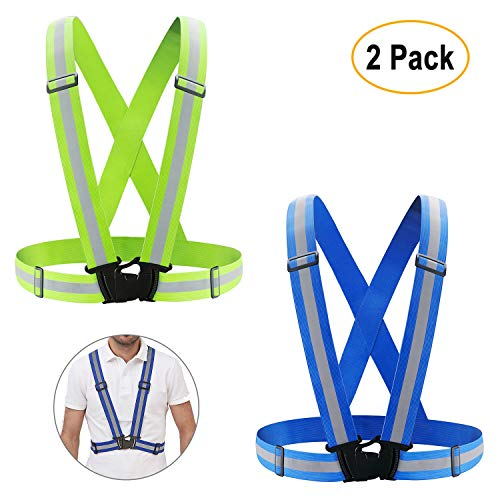 KUYOU Reflective Vest,2 Pack High Visibility Vest Safety Gear Elastic and Adjustable Safety Vest for Running, Cycling, Motorcycle Safety, Dog Walking,Jogging (Green+Blue)