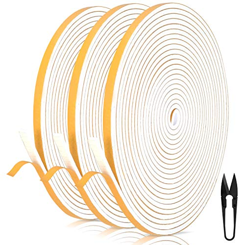 Dichtungsband für Türen 6mm(B) x 3mm(D) selbstklebendes Schaumstoffband Türdichtung Fenste, Gummidichtung für Kollision Siegel Schalldämmung Gesamtlänge 18m (3 Rollen je 6m lang) Weiß