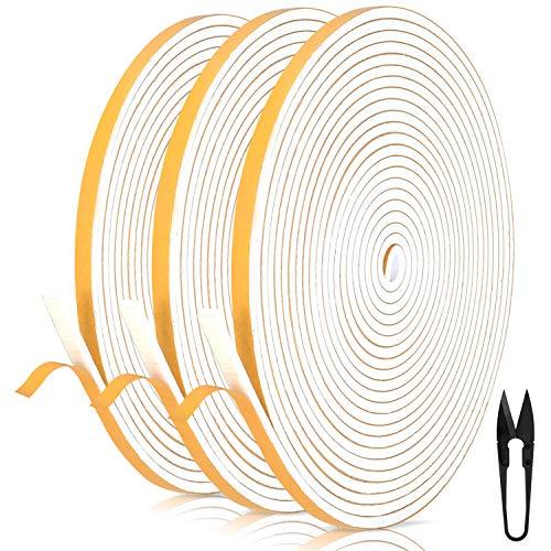 Dichtungsband für Türen 6mm(B) x 3mm(D) selbstklebendes Schaumstoffband Türdichtung Fenste, Gummidichtung für Kollision Siegel Schalldämmung Gesamtlänge 18m (3 Rollen je...
