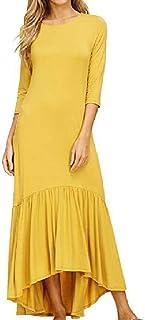 Coolhi La Mujer con Volantes embolsado Plisado Vestido Largo sólido Retro Jersey Suelto