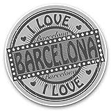 Impresionantes pegatinas de vinilo (juego de 2) 30 cm BW – Sello de viaje con texto 'I Love Barcelona', calcomanías divertidas para portátiles, tabletas, equipaje, reserva de chatarras, neveras, regalo genial #40286