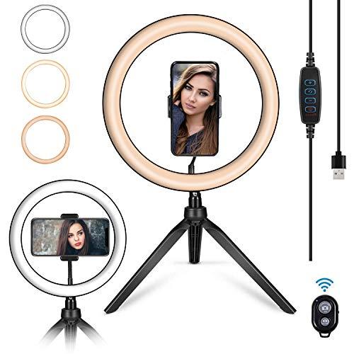 """ROOGELD 10\"""" LED Ringlicht, Ring Light mit Flexibler Telefonhalter & Stativ & Bluetooth-Empfänger, Farbtemperatur 3300K-6500K, 3 Dimmbare Lichtmodi & 7 Helligkeit für YouTube & Streaming, Make-up"""