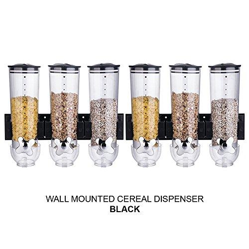 Dispensador de cereales Denny International®, montaje vertical en pared, para alimentos secos, producto de calidad, Triple Black x 2