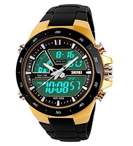 SKMEI Reloj Deportivo LED analógico-Digital Ligero Cronógrafo Alarma Mulitfunction Hombre/Mujer Muñeca relojes-negro