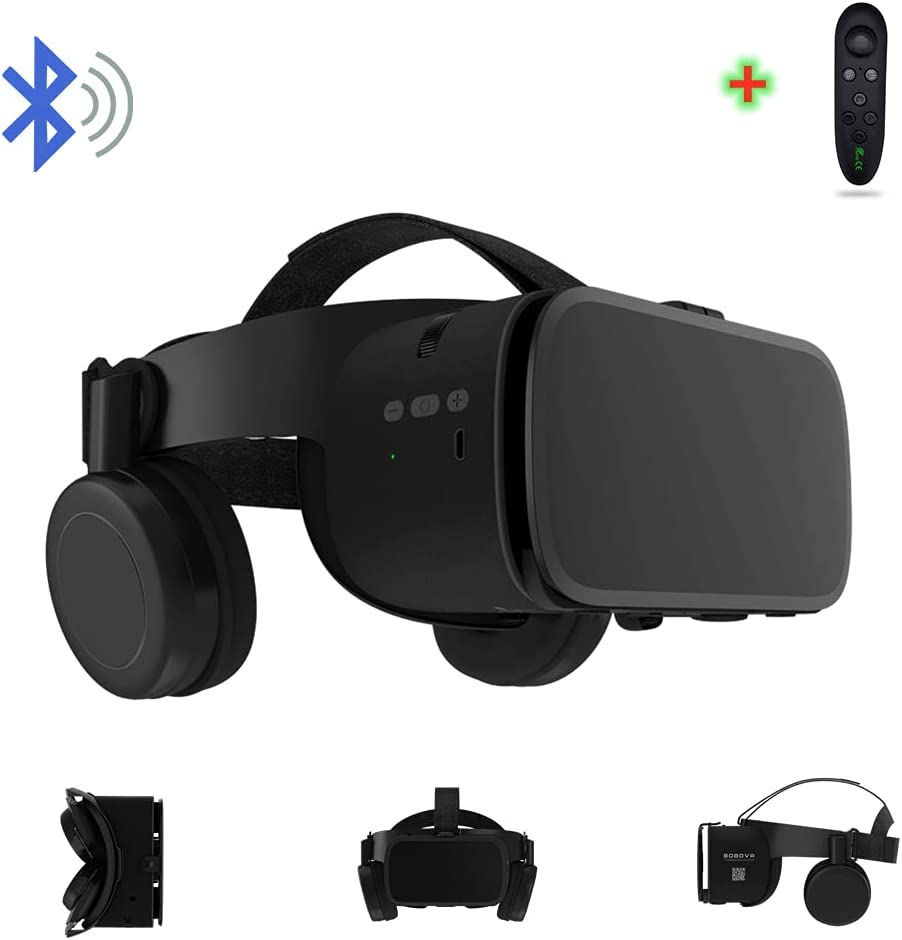 3D Virtual Reality VR Headset with Wireless Remote Bluetooth, VR Glasses for Movies & Video Games IMAX, Compatible for Android iOS iPhone 12 11 Pro Max Mini X R S 8 7 Samsung 4.7-6.2