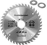 Lama per sega circolare Ø 160 – 190 – 210 – 250 mm lama per legno con 2 anelli riduttori: 16 / 20 mm, 40 denti in metallo duro (Ø 190 mm)