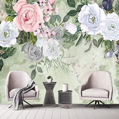 Fototapete Vlies Tapete, 3D Große Tapete Foto Seidenartiges Wandbild Vintage Rose Blumen Gedruckt Wandkunstrolle Poster Dekor Für Wohnzimmer Hinter Fernseher Schlafzimmer Küche Büro,100Cm (H) X