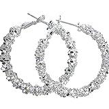 Amesii orecchini a cerchio da donna, in argento sterling 925, con decorazioni a forma di stella
