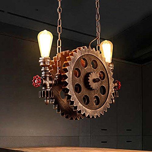 Gweat Lámpara industrial de la rueda del engranaje del estilo retro para el restaurante barra café escalera luz pendiente del pasillo color de bronce rueda de madera pipa de agua del metal E27 220V