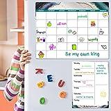 Magnetic Calendar for Refrigerator - Fridge Calendar, Magnetic Dry Erase Calendar with Grocery List Magnet Pad, Monthly Calendar Whiteboard, 16.9'x 11.8', Desk & Wall & Fridge Calendar/Planner - Blue