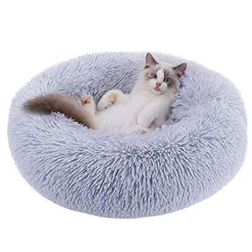 BangShou Redondo Camas para Gatos Felpa Camas Gatos Cama para Gatos y Perros Pequeños y Medianos (60cm, Gris Claro)