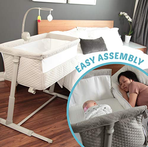 51Na64aymsL - Baby Bassinet RONBEI Bedside Sleeper Adjustable Portable Bed
