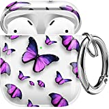 Maxjoy Compatible AirPods Case Cover, Clear Butterfly Case Cute Soft Protective Shockproof Cover with Keychain Compatible with Apple AirPods Wireless Charging Case 2&1 Girls Women Men,Purple Butterfly
