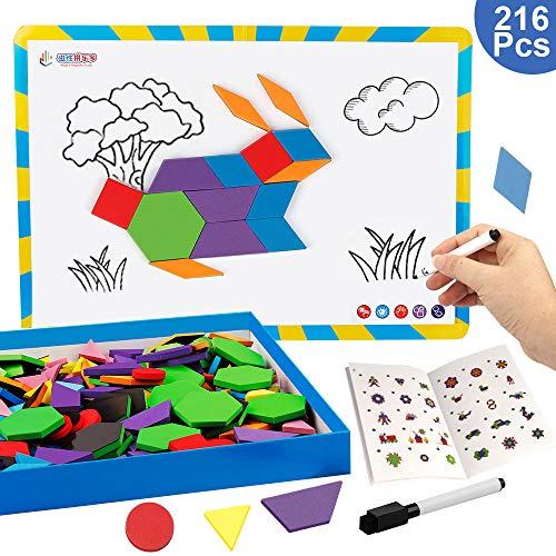 Vanmor 216PCS Magnetic Pattern Blocks Set with 298 Pattern Book & Magnet Board & Drawing Pen, Fridge Magnets Foam Tangram Geometric Shape Puzzle Educational Montessori Toy Children