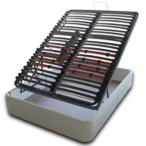VentadeColchones - Canapé Articulado Abatible de Gran Capacidad con Mando Inalámbrico + App Móvil, Polipiel Blanco, Medida 135 x 190 cm
