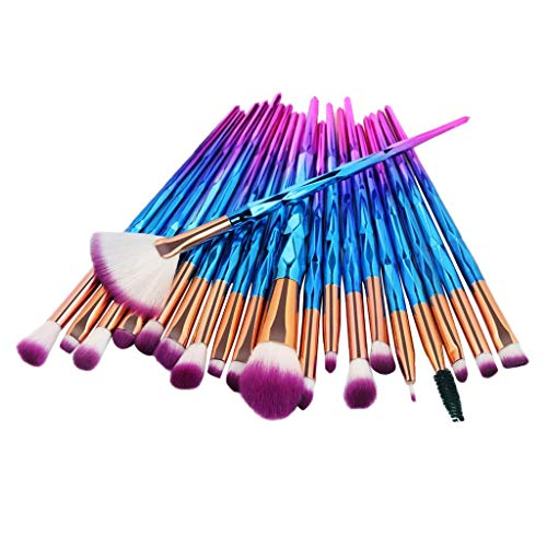 dailymall 20x Unicorn Eye Brush Set Blending Kit Maquillage Make Up Lip Concealer Brushes - Diamant violet