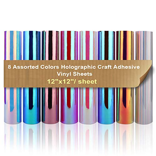 Holographic Adhesive Vinyl Pack 12 x 12 8 Sheets Assorted Colors Bundle/Variety Pack Chrome Sign Vinyl Works with All Cutters, DIY Design for Decorations