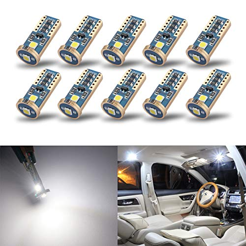 iBrightstar Newest Extremely Bright Wedge T10 168 194 LED Bulbs for Car Interior Dome Map Door Courtesy License Plate Lights, Xenon White