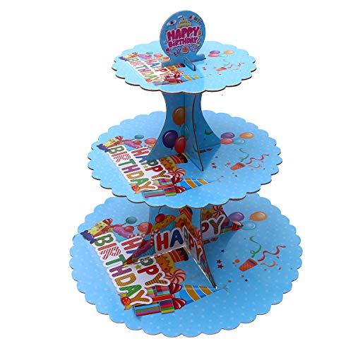 UPKOCH 3-stöckig Pappe Etagere Cupcake Turm Muffin Kuchen Turm Papier Cupcake Baum für Dessert Geburtstagsparty Kindergeburtstag Taufe (Blau)
