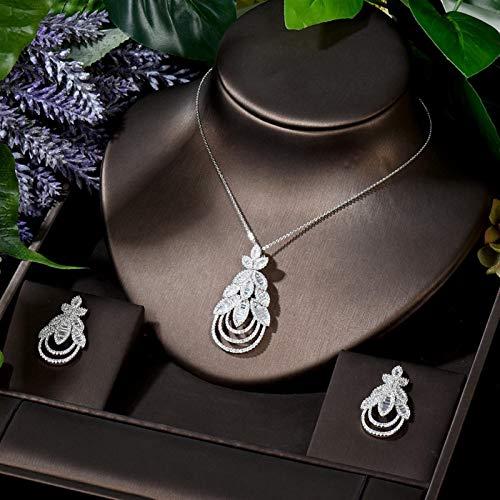 Jskdzfy Juego de 2 collares y pendientes de circonita cúbica para mujer, accesorios de fiesta de novia, color blanco