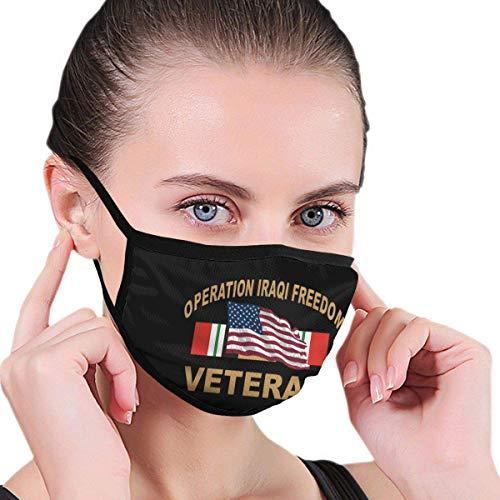 Irak-Veteran mit amerikanischer Flagge Operation Irakische Freiheit Männer Frauen Atmungsaktiv Komfortable Gesichtsschutzhülle Mit Gummiband Für die persönliche Gesundheit Verschiedene Verwendung