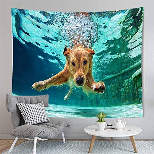 shuimanjinshan Pintura Animales Perros y Perro Pug Tapiz Colgante de Pared decoración de la Sala de Estar decoración del hogar 130X150Cm