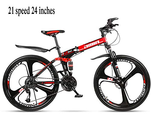 Folding Bicycles, Adult Shock-Absorbing Variable-Speed Mountain Bikes, 21-Speed tri-Cutter Bicycles