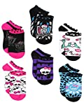 Monster High Girls 6 pack Socks (Shoe: 10-4 (Sock: 6-8), Ghoul Squad Black/Multi)