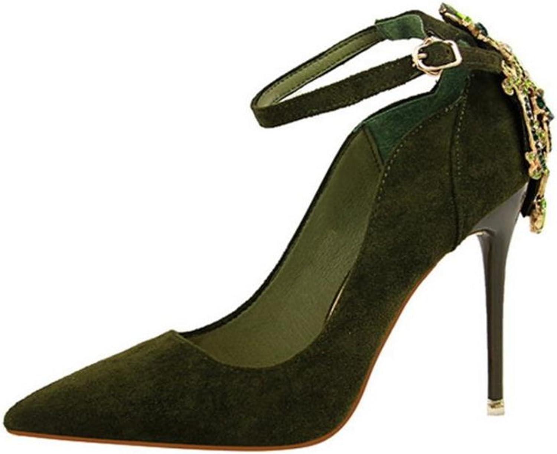 FORTUN Fashion Rhinestone Stilettos Professional Women's Pointed Toe Wedding shoes