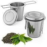 Smart-Planet Juego de 2 coladores de té de acero inoxidable – Filtro de té con tapa y mango – Colador para té hierbas y especias reutilizable