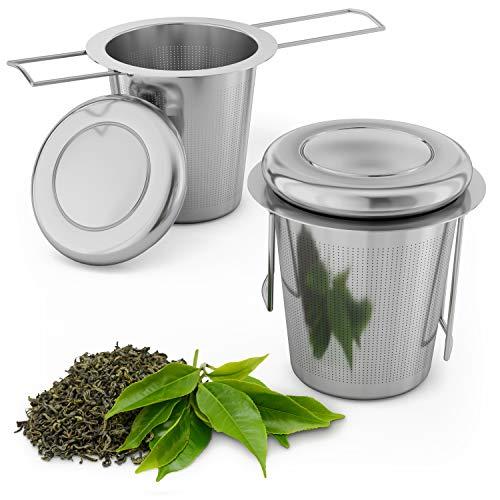 Smart-Planet Teesieb 2er Set Edelstahl - Teefilter mit Deckel und Griff - Sieb für Tee Kräuter und Gewürze wiederverwendbar Teebeutel Teesiebe Tasse
