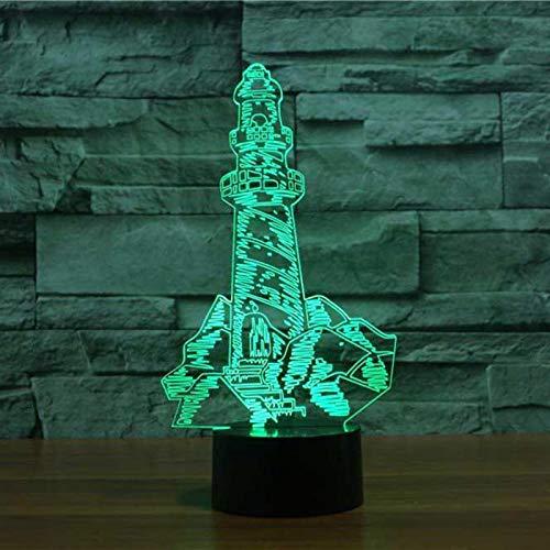 3D Ilusión Óptica Lámpara Led Luz De Noche Paisaje Marino Del Faro Luz Nocturna 3D Visual Lámpara De Mesa Regalo De Cumpleaños Para Niños Para Casa Dormitorio Decoración 16 Colores Cambio