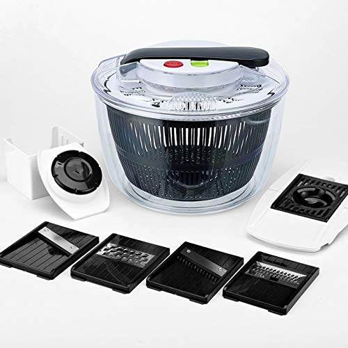 Salad Dryer,Salad Spinner Vegetable Spin Dryer Salad Spinner Multipurpose Salad Dehydrator Manual Lettuce Washer Utilize The Principle Of Leverage To Easily Drain Water And Make Salads More Convenient