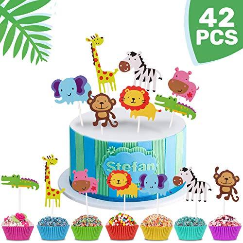 iZoeL Geburtstag Tortendeko 42 Stück Tier Cake Topper Dschungel Girlande für Kinder Junge Mädchen