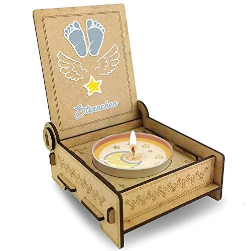 """TROSTLICHT Sternenkind """"Sternchen"""", Gratis e-Book, Sternenkind Kerze mit Spruch in Holz-Box, Sternenkinder Erinnerung, statt Trauerkarte Baby Trauer"""