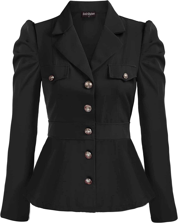 Steampunk Jacket   Steampunk Coat, Overcoat, Cape Scarlet Darkness Women Rerto Victorian Jacket Lapel Collar Peplum Hem Outerwear  AT vintagedancer.com