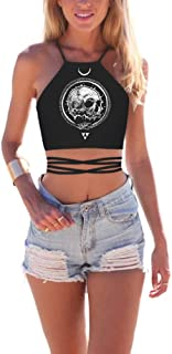 Womens Crop Top 3D Print Criss Cross Lace up Back Halter Top Cami Vest