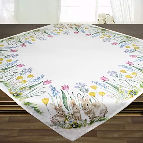 Tischdecke Osterhasen, Ecru weiß, 85x85 cm, zu Ostern