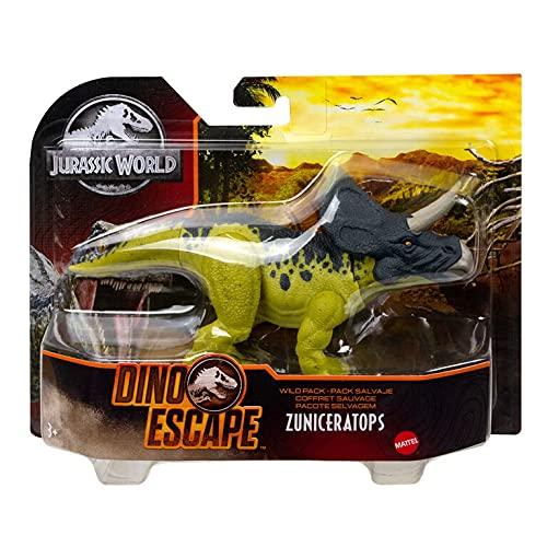 Jurassic world - Estuche salvaje de Dino Escape GWD00 con dinosaurio Zuniceratops (15 cm)