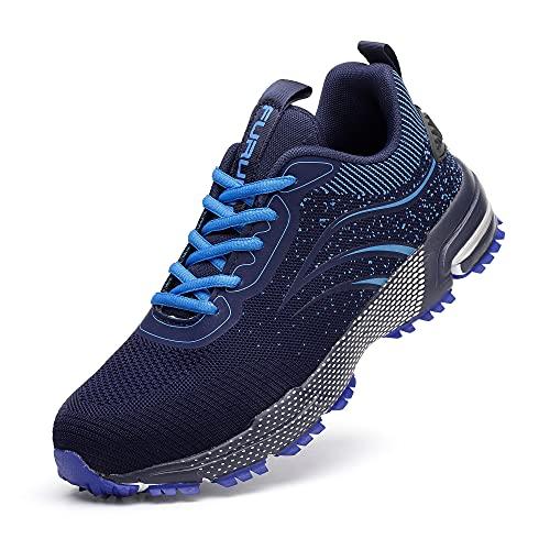 Zapatos de seguridad Hombres Mujeres Ligero Acero Toe Caps Deporte Trabajo Entrenadores Protectores Industriales Zapatillas de deporte, color Azul, talla 44 EU