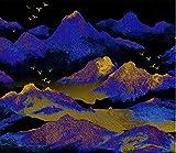 Papel Pintado Fotográfico 200x150 cm - 4 tiras Montañas Azules Tipo Fleece no-trenzado XXL Salón Dormitorio Despacho Pasillo Decoración murales decoración de paredes moderna