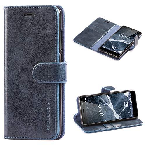Mulbess Custodia per Nokia 5.1, Cover Nokia 5.1 Pelle, Flip Cover a Libro, Custodia Portafoglio per Nokia 5.1, Navy Blu