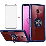 Phone Case for Samsung Galaxy S9 with Tempered Glass Screen Protector Clear Cover and Magnetic Kickstand Transparent Stand Ring Holder Slim Hard Cell Accessories Glaxay S 9 Edge 9S GS9 Cases Men Blue