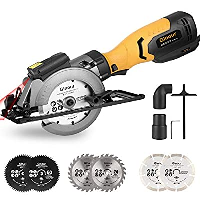 "Mini Circular Saw, Ginour 4-1/2"" with Laser Guide, 6.2A, 6 Blades(2 pcs 5"" & 4pcs 4-1/2""), Max Cutting Depth 1-7/8''?90°?, 1-5/16''?45°?, Ideal for Wood, Tile, Backerboard, Cement, Drywall, by ginour"