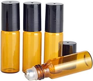 Furnido 10 PCS Portable Amber colour Refillable Perfume Glass Bottle Empty Aromatherapy Essential Oil Jar with Black Lids Mini sample vials Roll-on Bottle Stainless Steel Roller Ball (5ml)