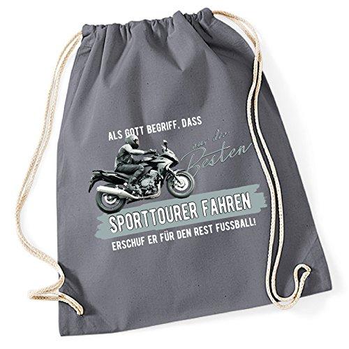 Siviwonder Turnbeutel - GOTT besten SPORTTOURER fahren vintage Bike NO Fußball Tourenmaschine Motorrad - Baumwoll Tasche Beutel grau